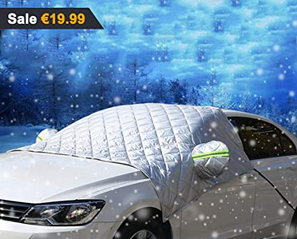 Car Windscreen Cover SUVs Super Thick Extra Large Snow Cover with Wing Mirror Cover and Reflective Stripes Fits Most Vehicles Windshield Frost Cover Ice Protection Foils for Winter