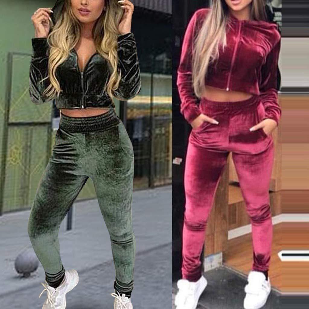 Corriee Womens Velvet Sweatsuits Long Sleeve Zip Cropped Tops Long Pants Set Womens 2 Piece Jogging Tracksuit