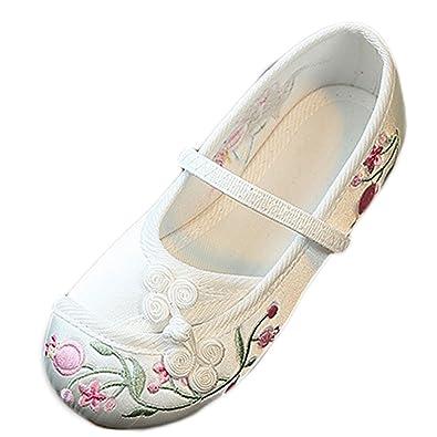 da662605a0 Yy.f YYF Fille Ballerine Chaussure Fleur Chinoise Broderie en Soie et Toile Chaussure  Plat