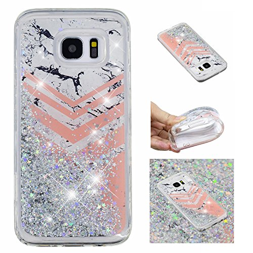 Flowing Floating Liquid for Samsung Galaxy S7 Edge Glitter Quicksand Case,Ostop Moving Waterfall Cover Built-in White Marble and Pink Geometric Pattern Clear Slim Soft TPU Shell ()