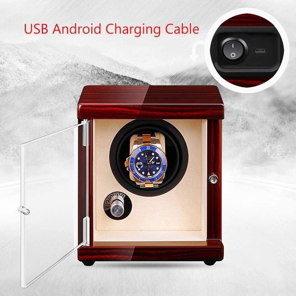 時計 収納 5回転モード時計収納ディスプレイボックスのUSB自動シングルウォッチワインダー2電源方式 YZJL