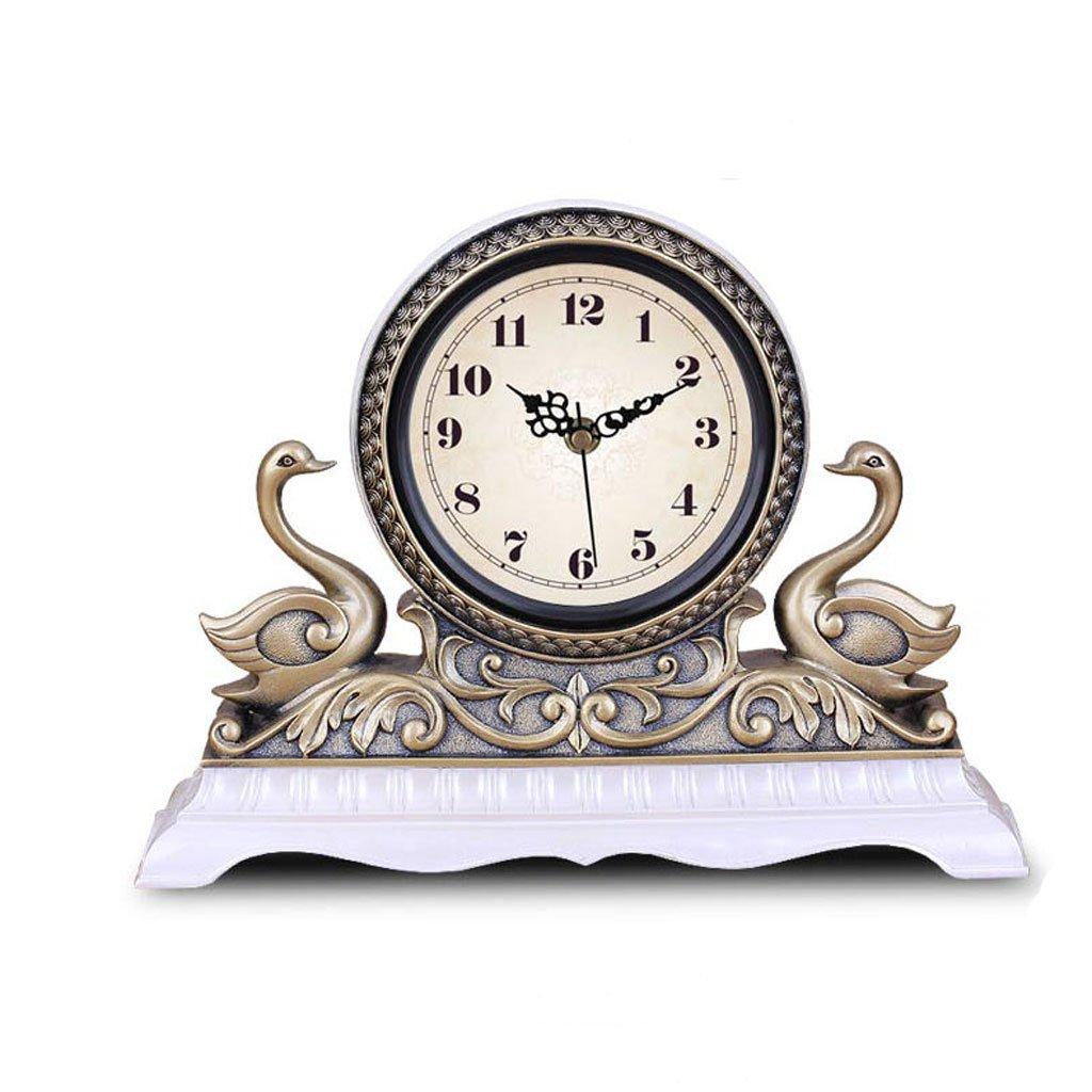 ヨーロッパのファッション単純なパーソナリティ時計のベッドルームのリビングルームの時計クリエイティブレトロエレガントな時計の装飾品アメリカンミュートデスククロック B07DVFXDZD