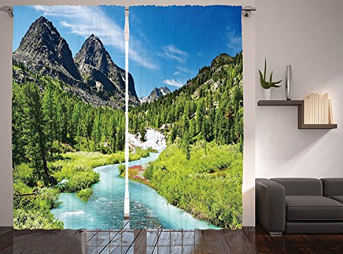 Ambesonne Mountain Curtains, Rainforest River with Rocky Mountains Scenery Siberia Whitewater Altai Pine Forest, Living Room Bedroom Window Drapes 2 Panel Set, 108 X 90 Inches, Multicolor