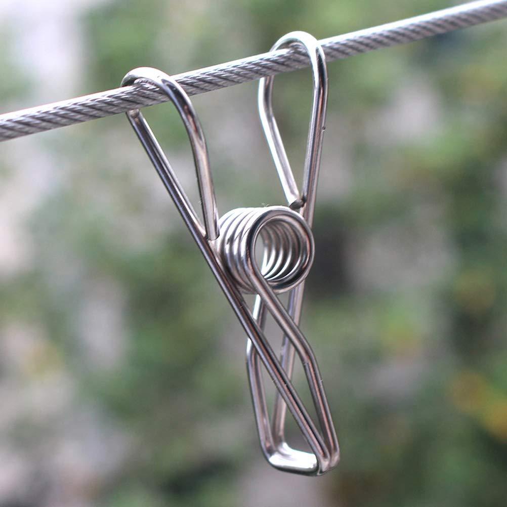 Macabolo 20 Pack Multi-Purpose acero inoxidable ropa Pins metal W/äscheklammern acero soporte acero alambre Clips ganchos para papel Snack Bag