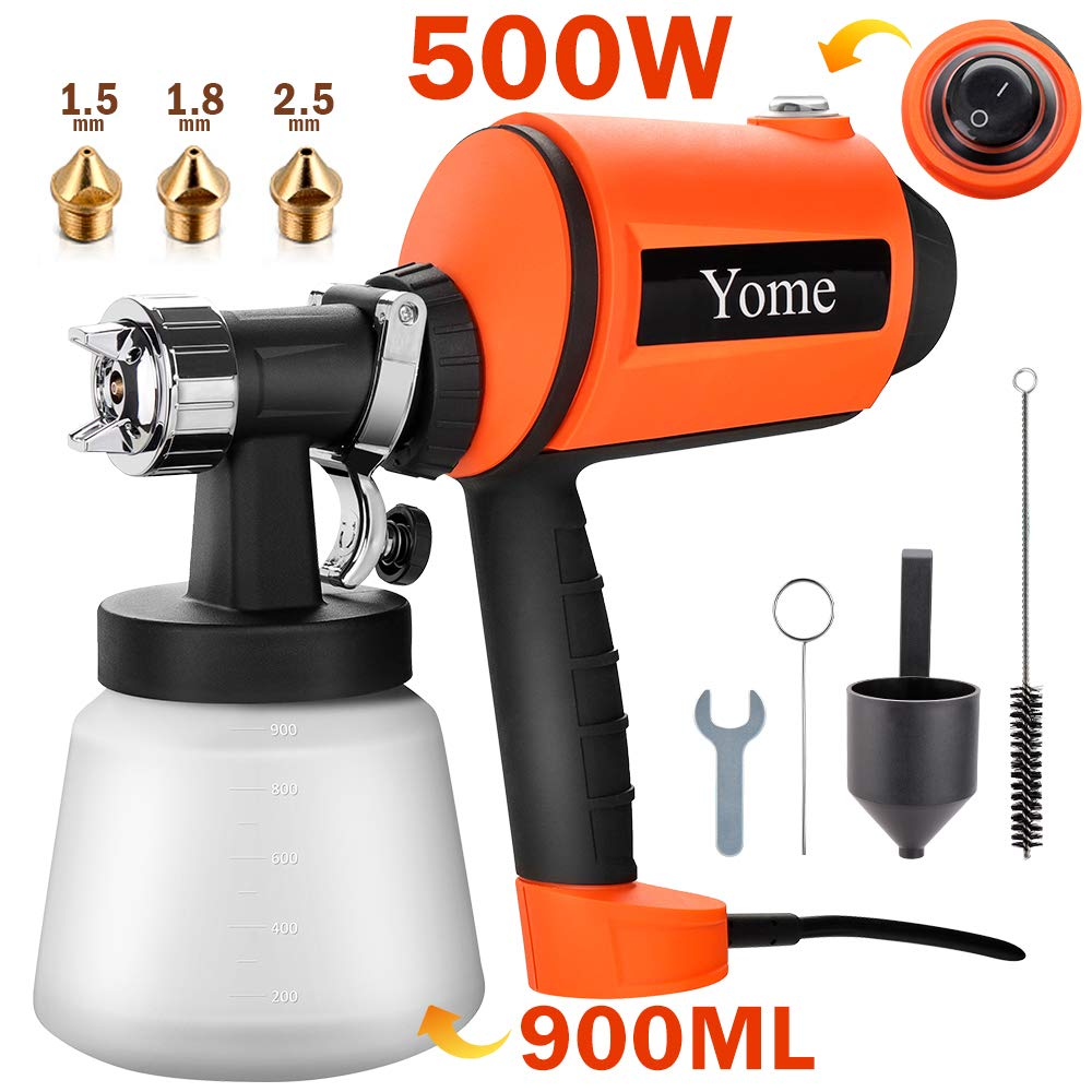 Paint Sprayer 830ml/min, Yome Electric Spray Paint Gun with Three Spray Patterns, Three Copper Nozzle Sizes, Adjustable Valve Knob, Two 900ml Detachable Containers for Painting Projects, Orange by Yome
