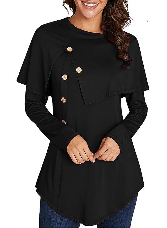 ELF QUEEN Women's Cute Cloak Warm Winter Poncho Tunic Tops Slim Fit Blouse Black Small