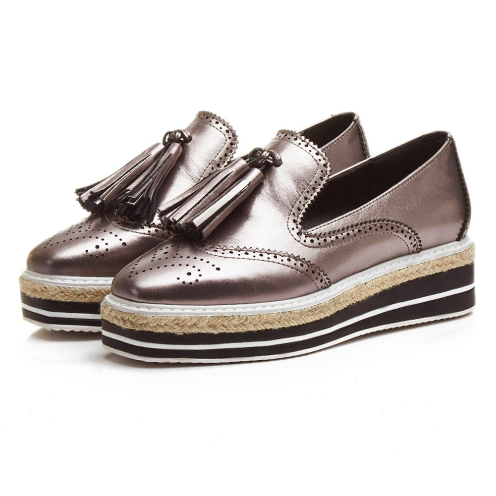 MINIVOG Tassels Flat Platform Womens Loafer Shoes