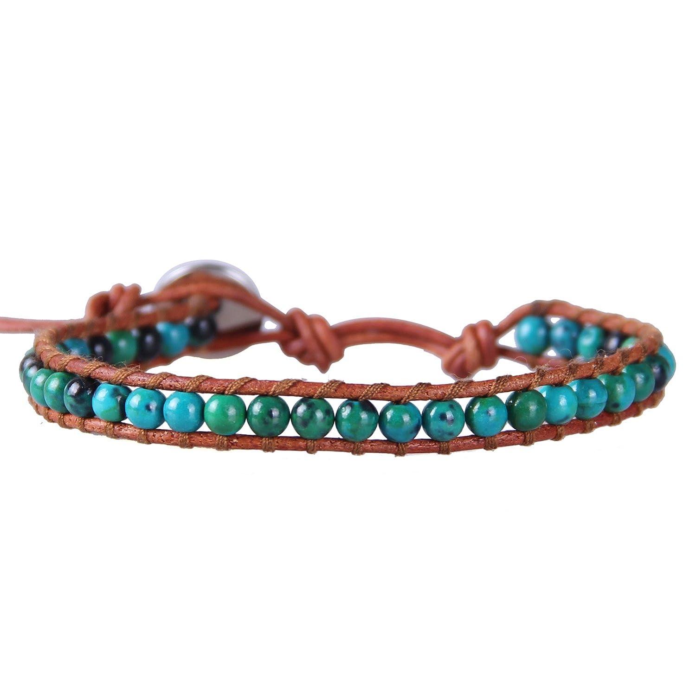 KELITCH Birthstone Semi-precious Gemstone Beads Leather Bracelet Jewelry Kelitch Jewelry CAZ1WS00007A