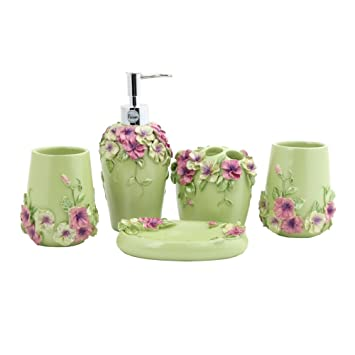 fuloon country style resin 5pcs bathroom accessories set soap dispensertoothbrush holdertumbler