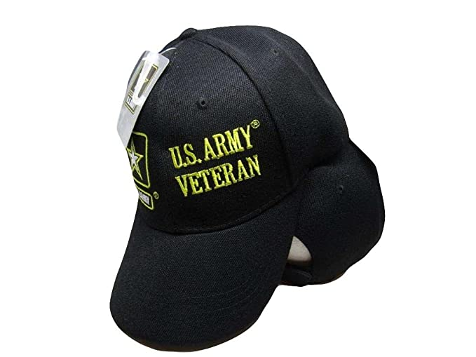 9a27f309d06 U.S. Army Veteran Vet Star Emblem Black Embroidered Hat Ball Cap (RAM) C1030