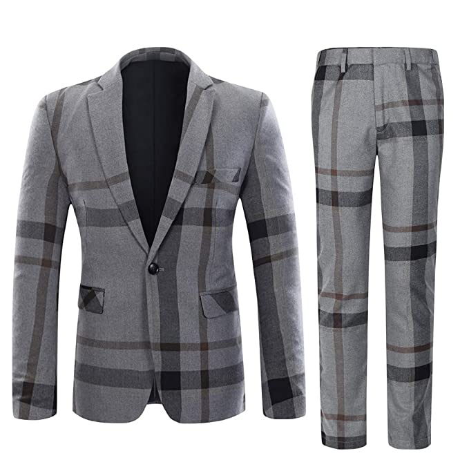 fast color select for genuine color brilliancy Mens Suits Slim fit 1 Button 2 Piece Tweed Suit Check Blazer Jacket and  Trousers