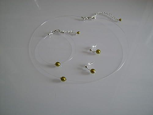 Parure enfant fille Bleu roi perle Collier bracelet boucles pas cher Mariage