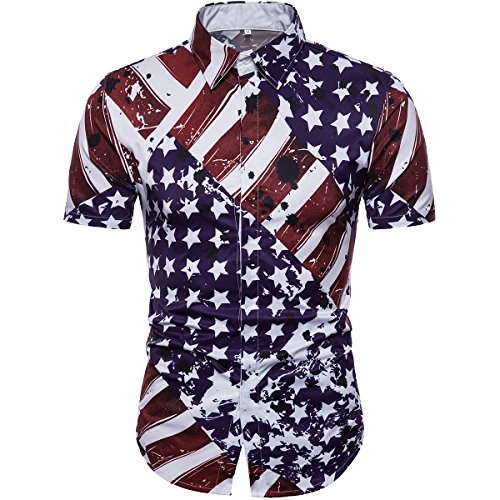 Cottory Mens The Union Flag Printed Desigen Casual T-Shirt Short Sleeve Button Down Shirts Small (Union Printed)