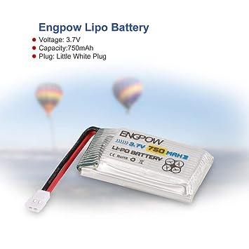 WOSOSYEYO 6PCS Engpow 3.7V 750mAh 1S batería Lipo Recargable para ...