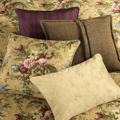 Ralph Lauren Adriana Square Bed Pillow Taffeta Purple Plaid