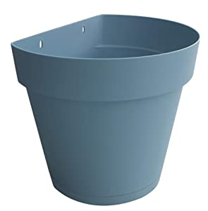 TABOR TOOLS Plastic 8.5 Inch Wall Planter Pot for Vertical Flower Garden, Living Wall or Kitchen Herbs, with Attached Saucer. VEM605A. (Pastel Blue)