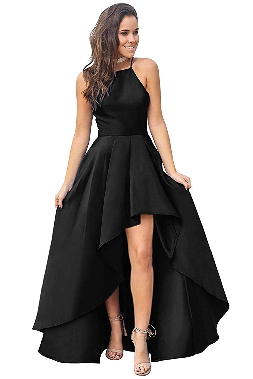 Black RTTUTED High Low Sleeveless Prom Dresses Satin Ball Gowns for Women Formal Evening Skirt