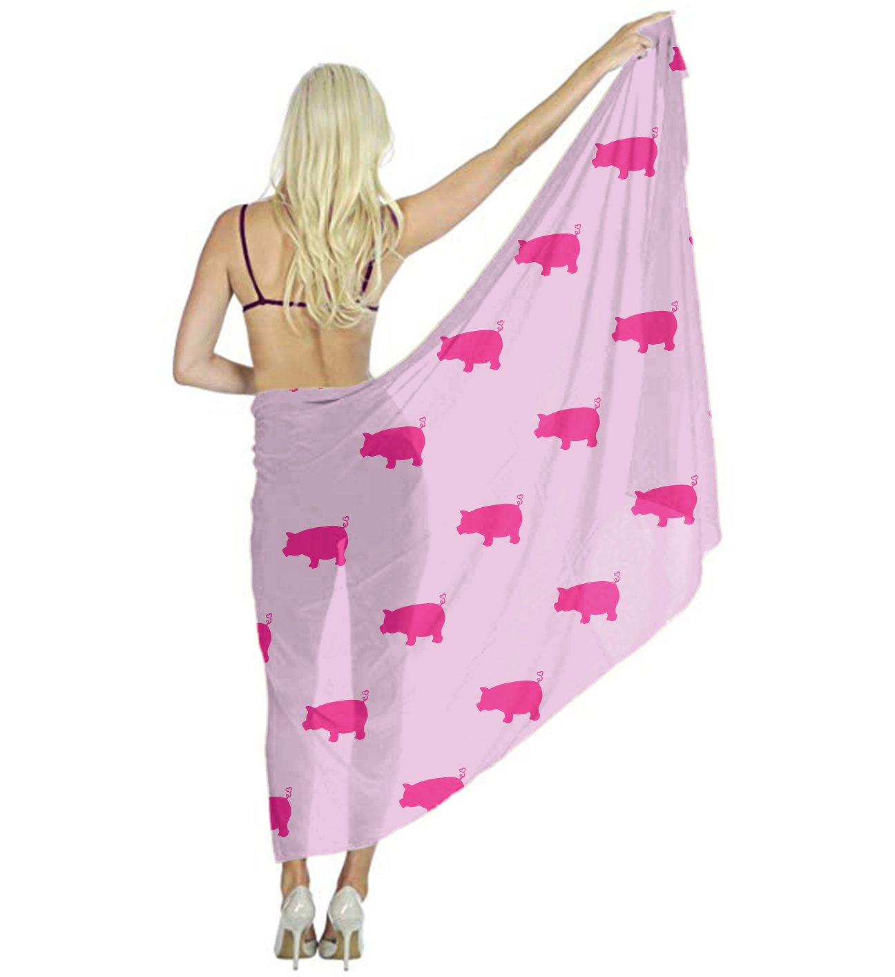 Fashion Women Silk Scarf - Pink Pigs Pattern - Bridal Evening Dress Soft Wrap Shawl