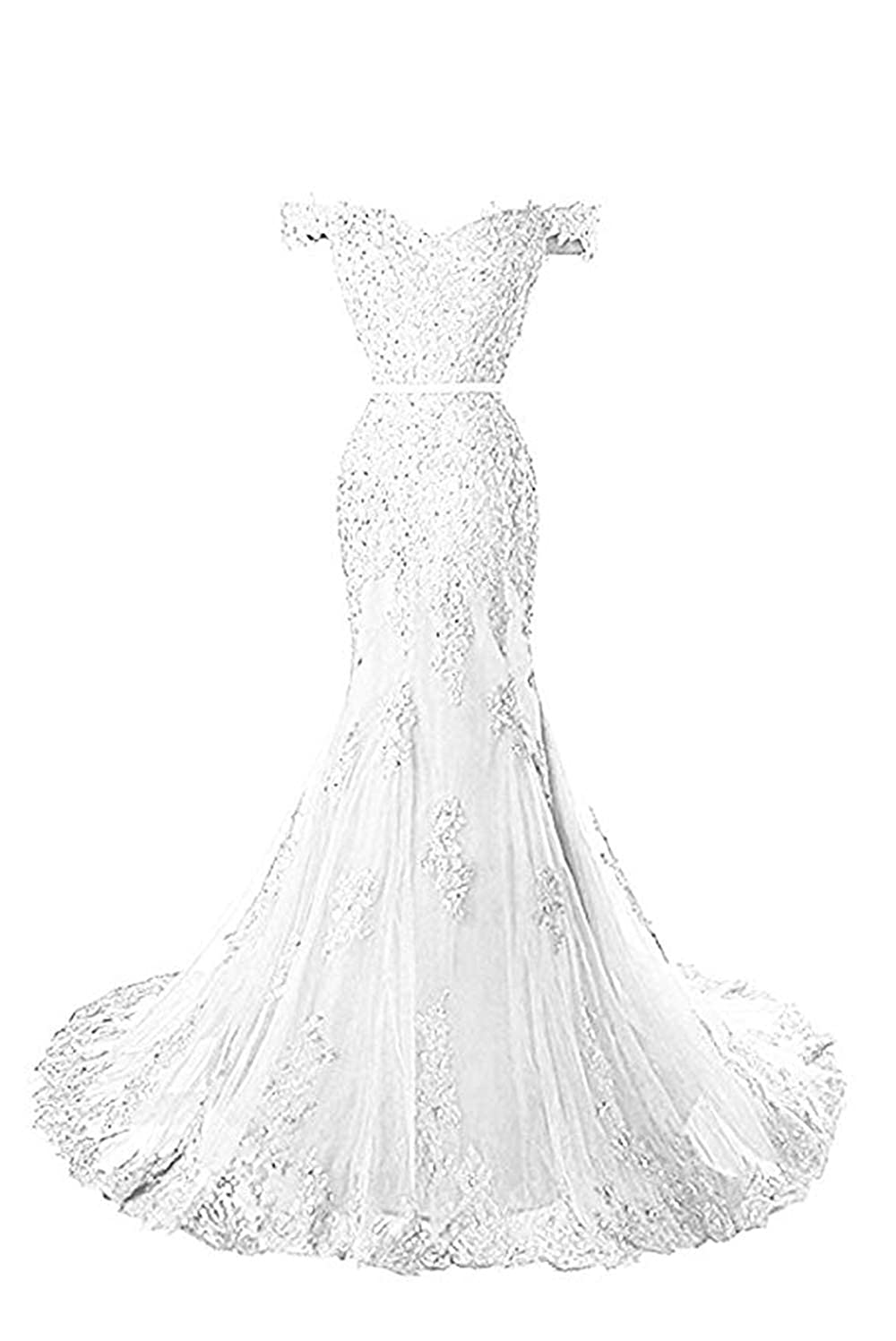 White formalmall Women's Off The Shoulder Mermaid Prom Dresses 2019 Long Beaded Lace Applique Evening Gown