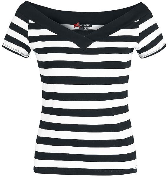 Hell Bunny Caitlin Top Camiseta Mujer negro-blanco uWJuh8V6