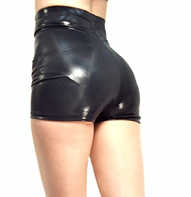 9c377fb2801d2 Madame Fantasy Sexy High Waisted Shiny Black Wet Look Shorts / Hot Pants  Size: X