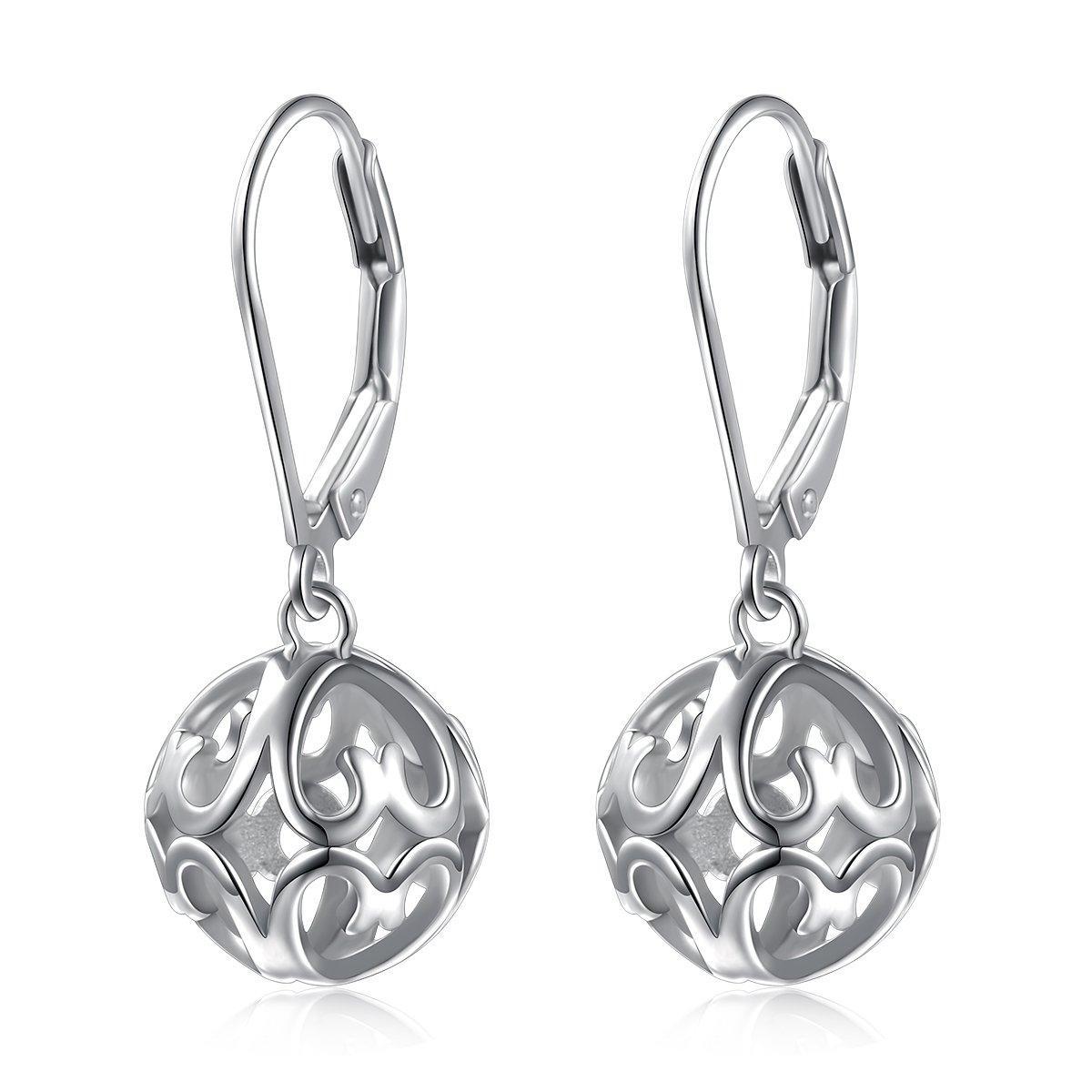 SILVER MOUNTAIN S925 Sterling Silver Heart Round Ball Dangle Drop Leverback Earrings for Women Girl Mother Sister Wife Gift