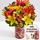 Deluxe Autumn Glow with Fall Floral Vase & Chocolates - eshopclub Same Day Thanks giving Flower Delivery - Online Thanksgiving Flower - Thanksgiving Flowers Bouquets - Send Thanks giving Flowers