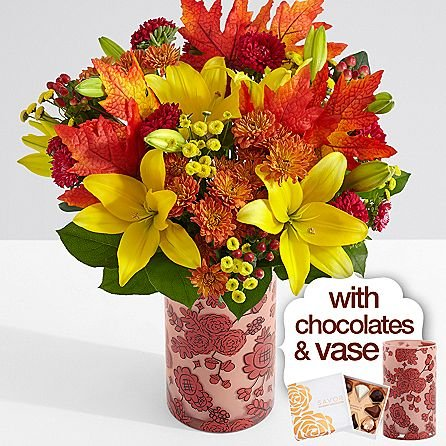 Deluxe Autumn Glow with Fall Floral Vase & Chocolates - eshopclub Same Day Thanks giving Flower Delivery - Online Thanksgiving Flower - Thanksgiving Flowers Bouquets - Send Thanks giving Flowers by eshopclub