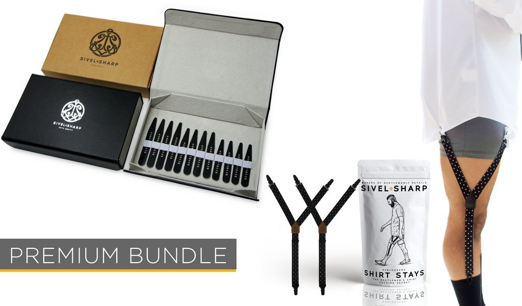 SIVEL + SHARP Premium Stays Bundle | 12 Collar Stays in Leather Case & Adjustable Shirttail Suspenders (Polka Dot)