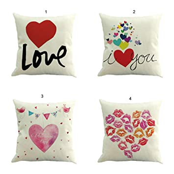 OPEN BUY Set de 4 Fundas cojin Love para Jardin terraza ...