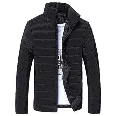 Amazon.com: Challyhope Men Winter Zipper Lightweight Stand Collar ...