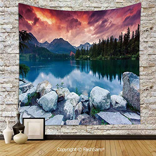 FashSam Tapestry Wall Hanging Lake Forest Mountains National Park Slovakia Europe Dramatic Overcrast Sky Idyllic Tapestries Dorm Living Room Bedroom(W59xL90)]()