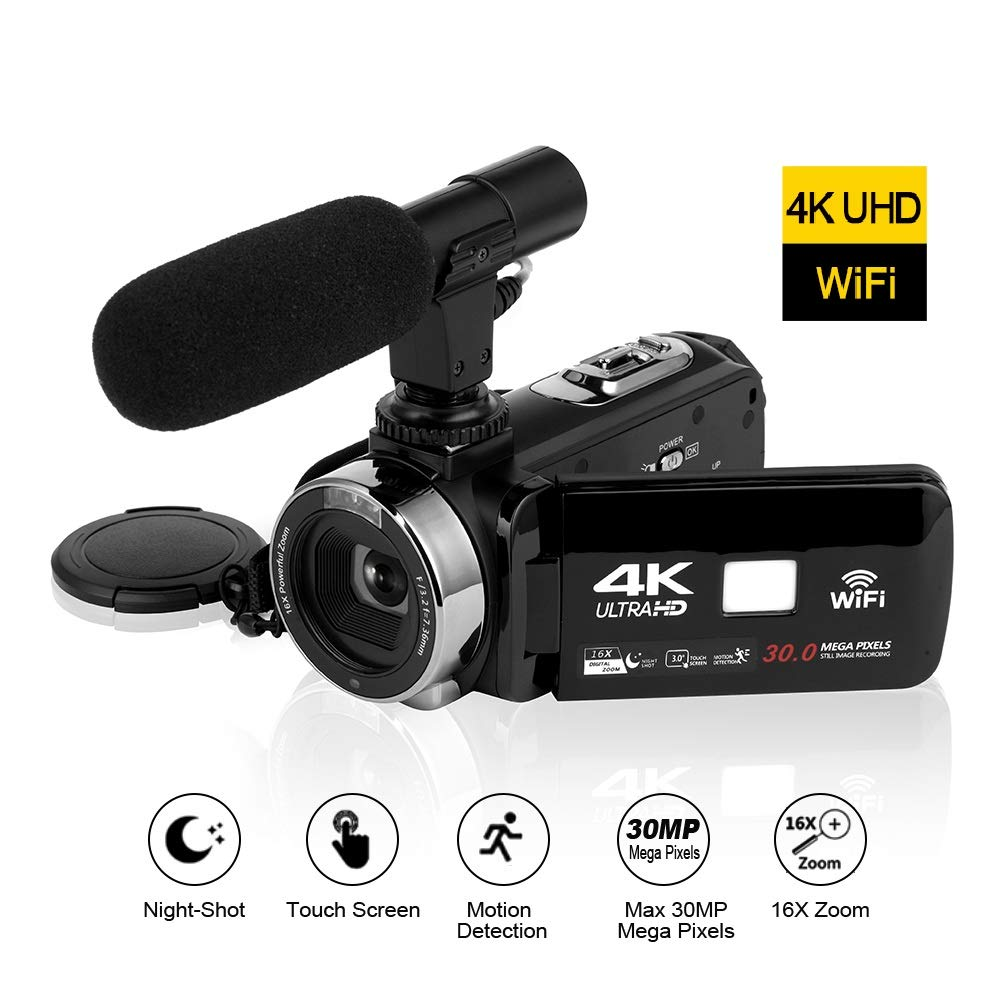 4K Videocámara HD de Alta definición Conectividad WiFi Cámara de Video Pantalla táctil de 3.0 Pulgadas
