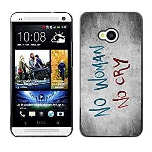 Qstar Arte & diseño plástico duro Fundas Cover Cubre Hard Case Cover para HTC One M7 ( Woman Sadness Cry Quote Slogan Heartbrake)