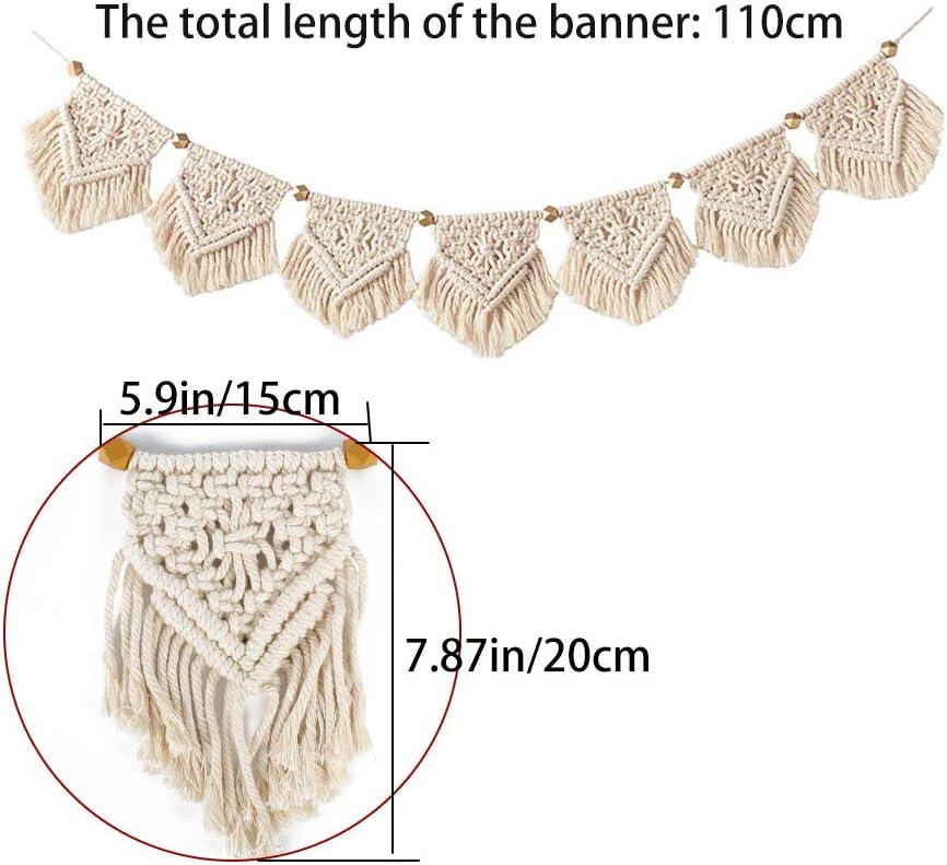 AILANDA Makramee Wandbehang Boho Tapisserie Gewebte Deko Girlande Banner Wanddeko f/ür Wohnzimmer Schlafzimmer Beige T/ür Vorhang Wanddekor,7x15cm*20cm