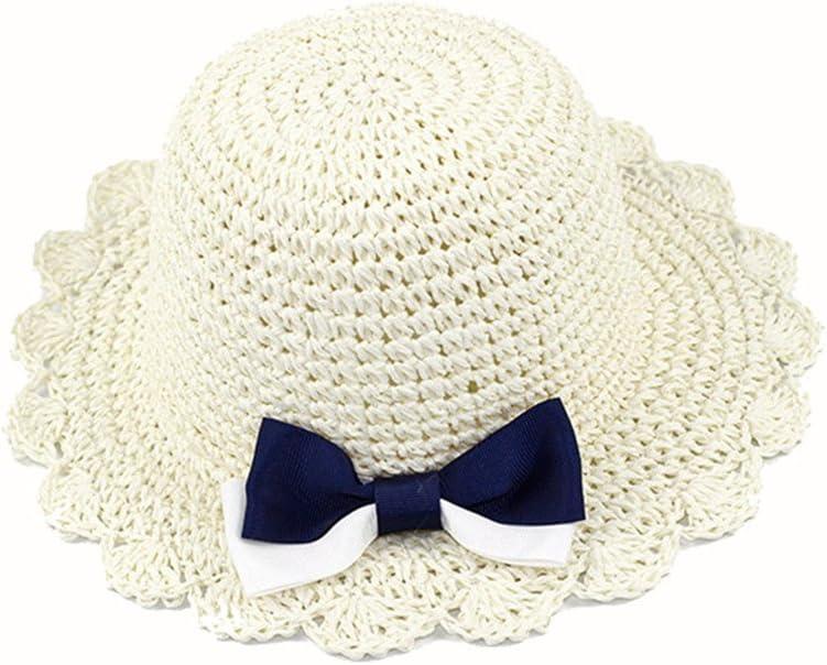(アダ二ナ)Adanina 子供用ハット 手作り帽子 可愛い リボン 蝶結び 麦わら帽子 ストローハット ビーチハット 子供 キッズ 女の子 ガールズ用 つば広 日よけ UVカット 紫外線対策 ホワイト