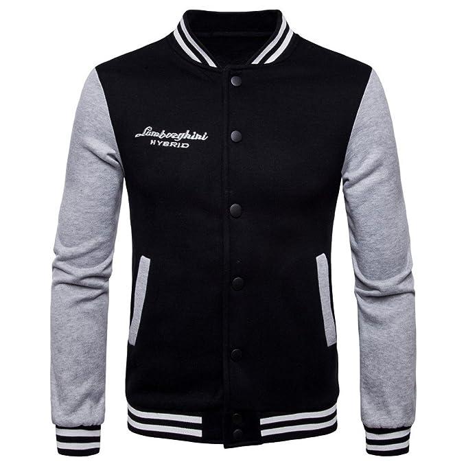 COCO clothing Beisbol Chaqueta Hombre Cazadoras Universidad Casual Jacket Patchwork Sudaderas Abrigos Juvenil (negro,