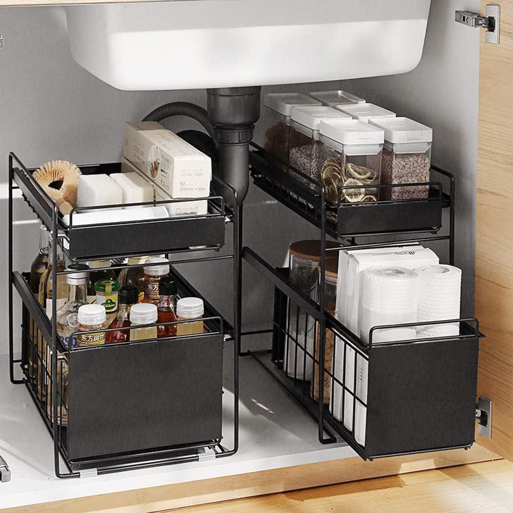 HUIJ sous évier étagère sous Evier Rack etagère de Rangement Cuisine Panier de Rangement ...