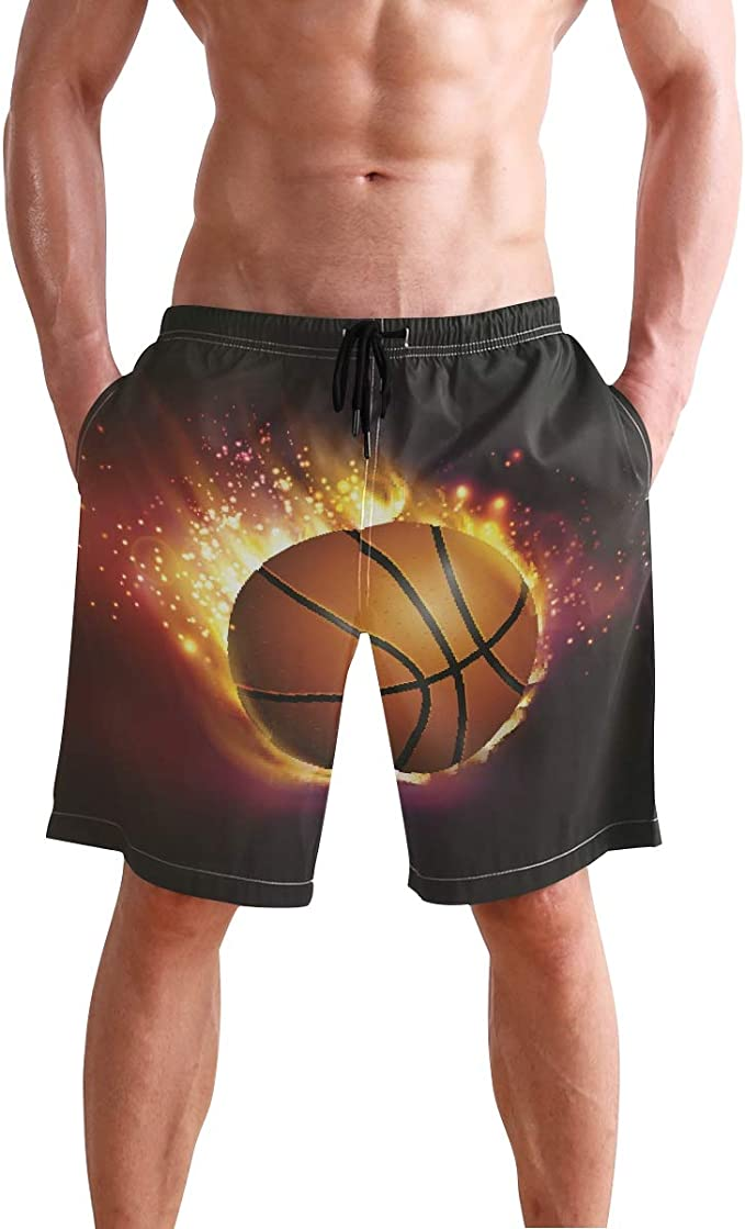 Basketball Pattern Mens Quick Dry Swim Trunks Swimming Shorts with Mesh Liner