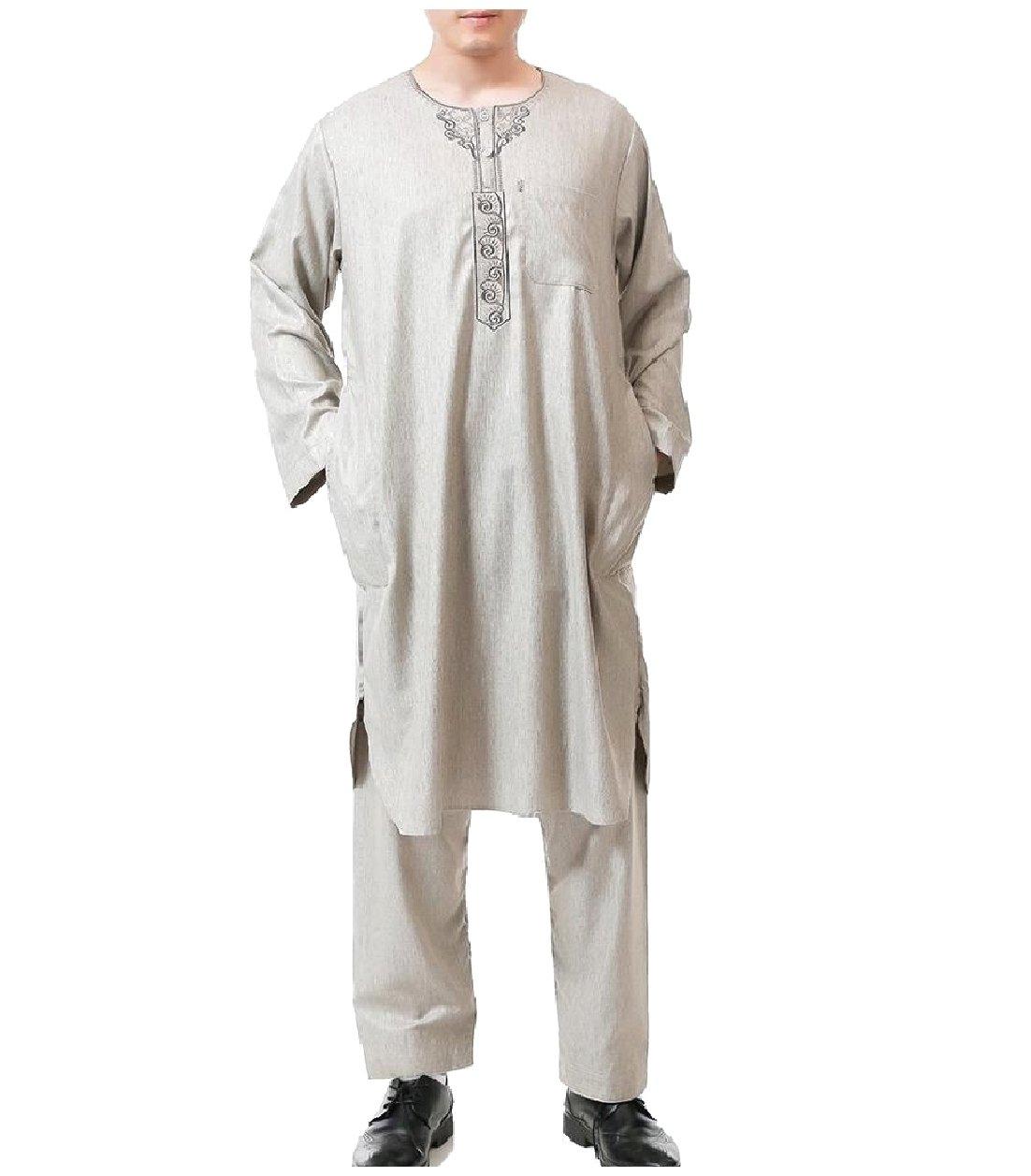 Winwinus Mens Summer 2-Piece Saudi Arabia Cotton Muslim Shalwar Kemeez Khaki 60