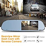 Vantrue N3 Dual Dash Cam Rearview Mirror Backup Camera 5'' IPS Touch Screen FHD 1080P Front and Rear Dash Cam With Parking Assistance and IP67 Waterproof Reverse Backup Camera, LLL Night Vision