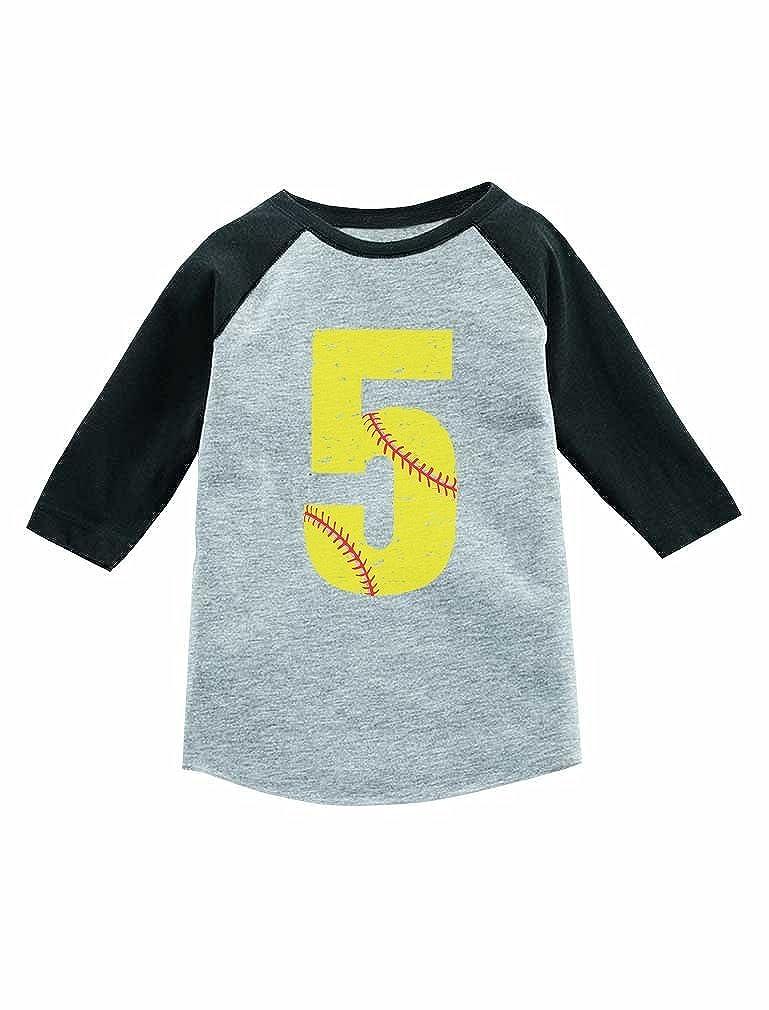 Tstars Birthday Gift 5 Year Old Softball Lover 3//4 Sleeve Baseball Jersey Toddler Shirt