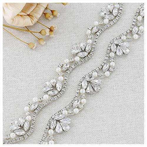 QueenDream 1Yard Rhinestone Applique Crystal Appliques Silver Applique Wedding Appliques Iridescent Rhinestone Applique Star Rhinestone Applique