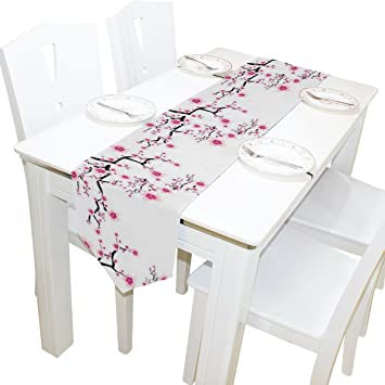 Naanle Double Sided Pink Cherry Blossom Polyester Dining Table Runner / Bed  Runner 13 X