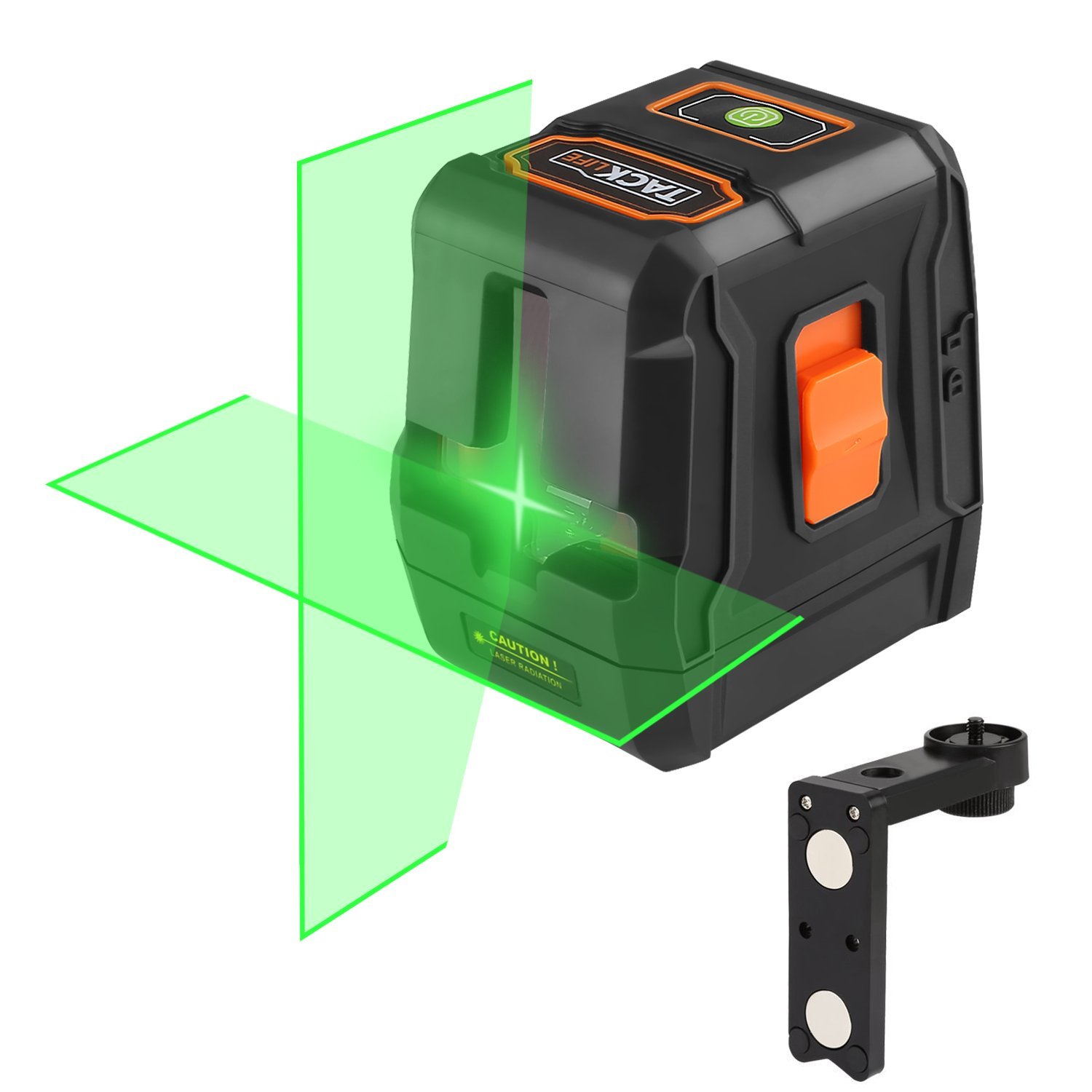 Green Laser Level 98 FeetSelf-Leveling Cross-Line laser - Two Turn-on Ways, Full Soft Rubber Covered, Flexible Magnetic Mount Base, Carrying Pouch, Battery Included - SC-L07G