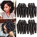 Molefi Brazilian Virgin Funmi Hair 4 Bundles Spiral Curl Hair Bundles Short Curly Weave 7A Unprocessed Brazilian Human Hair Extensions 50g/pc Full Head Natural Color