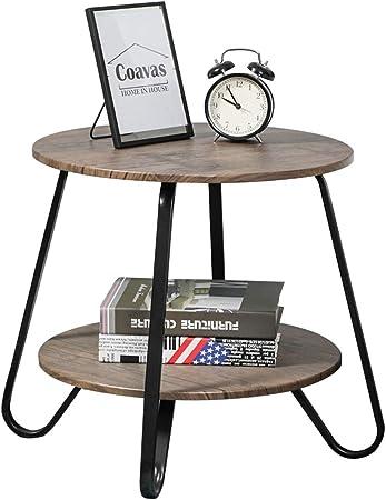 Niveaux d'extrémité pour Table Canapé Rond Industrielle Table Basse Moderne Petite Chambre 2 Salon Table Chevet Table d'extrémité de Vintage Tables lucTFJ31K