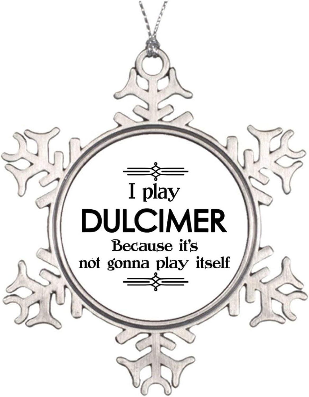 Christmas Ornaments, Dulcimer Play Itself Funny Deco Music Pewter Ornament, Art Print Snowflake Ornament Tree Hanging Decor Gift,3 Inch