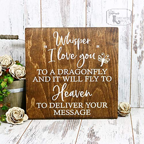 Whisper Sugar - Whisper I Love You To A Dragonfly Wood Sign, In Memory Of, Sign Decor, Farmhouse Decor, Rustic Home Decor, Family Gifts, Wedding Decor, Gift