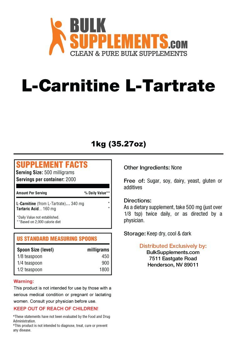 Bulksupplements L-Carnitine L-Tartrate Powder (1 Kilogram) by BulkSupplements (Image #1)